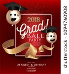 graduation party red card with... | Shutterstock .eps vector #1094760908