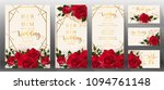 Stock vector edding invitation card templates with realistic of beautiful red rose and flower on background 1094761148