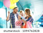 happy family walking along the... | Shutterstock . vector #1094762828
