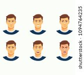 manly face expressions set | Shutterstock .eps vector #1094764235