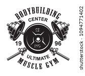 vintage monochrome fitness logo ... | Shutterstock .eps vector #1094771402