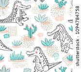 cute crocodile seamless pattern.... | Shutterstock .eps vector #1094784758