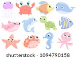 Stock vector cute sea animals flat design 1094790158