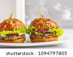 vegan black bean burgers with... | Shutterstock . vector #1094797805