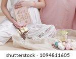 Pregnancy Woman In White Dress...