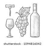 wine set. bottle  glass ... | Shutterstock .eps vector #1094816042