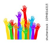 hands emoticons. raised hands.... | Shutterstock .eps vector #1094816315