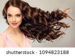 brunette  girl with long  ... | Shutterstock . vector #1094823188