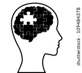 puzzle brain and silhouette... | Shutterstock .eps vector #109484378