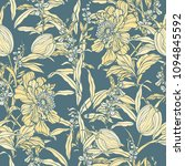 seamless pattern with flowers... | Shutterstock .eps vector #1094845592