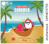 vintage summer poster with... | Shutterstock .eps vector #1094874755