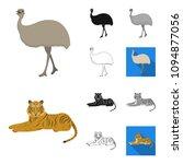 different animals cartoon black ... | Shutterstock .eps vector #1094877056