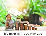 house model on coins saving set ...   Shutterstock . vector #1094904278