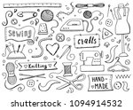 hand drawn set with sewing and... | Shutterstock .eps vector #1094914532