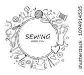 hand drawn set with sewing and... | Shutterstock .eps vector #1094914535