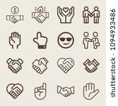set of 16 gestures outline... | Shutterstock .eps vector #1094933486