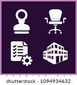 set of 4 office filled icons...