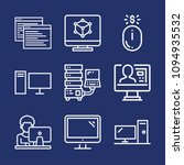 set of 9 computer outline icons ... | Shutterstock .eps vector #1094935532