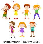 a set of young children... | Shutterstock .eps vector #1094959838