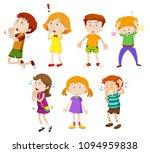 a set of young children... | Shutterstock .eps vector #1094959838