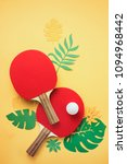 ping pong rackets and ball with ... | Shutterstock . vector #1094968442