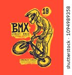 bmx bicycle rider typography... | Shutterstock .eps vector #1094989358