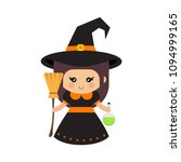 cartoon cute witch with magic... | Shutterstock .eps vector #1094999165