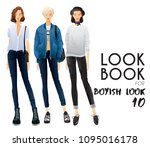 body template with outfits and...   Shutterstock .eps vector #1095016178