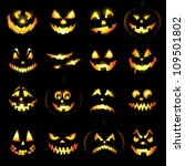 Stock vector jack o lantern pumpkin faces glowing on black background 109501802
