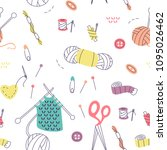 pattern with knitting and...   Shutterstock .eps vector #1095026462