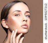girl face. perfect natural make ... | Shutterstock . vector #1095027212