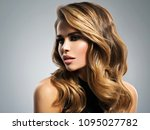 beautiful young woman with long ... | Shutterstock . vector #1095027782