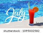 hello july hand lettering.... | Shutterstock . vector #1095032582