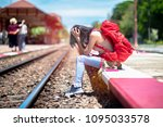 young woman lost and missing... | Shutterstock . vector #1095033578