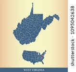 west virginia county map with... | Shutterstock .eps vector #1095042638