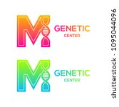 letter m colorful with dna... | Shutterstock .eps vector #1095044096