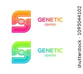 letter s colorful with dna... | Shutterstock .eps vector #1095044102