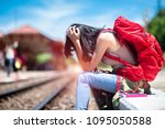 young woman lost and... | Shutterstock . vector #1095050588