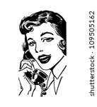 Telephone Gal   Retro Clipart...