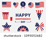 happy independence day icon set.... | Shutterstock .eps vector #1095052682