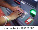 woman covering atm machine... | Shutterstock . vector #109505306
