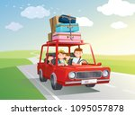 family road trip. travel by car ... | Shutterstock .eps vector #1095057878