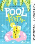 pool party invitation. vector...   Shutterstock .eps vector #1095061142