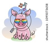 cute cartoon baby pig in a cool ... | Shutterstock .eps vector #1095073658