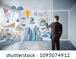 young businessman drawing... | Shutterstock . vector #1095074912