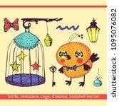 romantic set of cartoon bird ... | Shutterstock .eps vector #1095076082