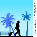 a elderly man travels to a... | Shutterstock .eps vector #1095086522