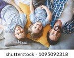 top view portrait of satisfied...   Shutterstock . vector #1095092318