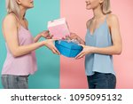 two glad women standing one... | Shutterstock . vector #1095095132