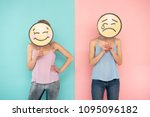 emoji atmosphere. waist up of... | Shutterstock . vector #1095096182